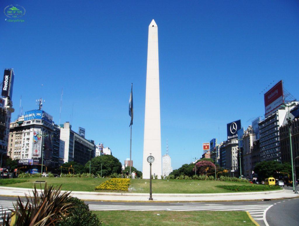 El famoso Obelisco en la ciudad de Buenos Aires